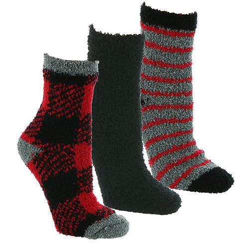Steve Madden Women's SM45586 3PK Cozy Buffalo Plaid Crew Socks