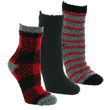 Steve Madden Women's SM45586 3PK Cozy Buffalo Plaid Crew Socks