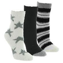 Steve Madden Women's SM44838 3PK Cozy Star Stripe Crew Socks