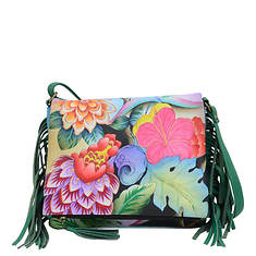 Anna by Anuschka Leather Fringed Flap Crossbody