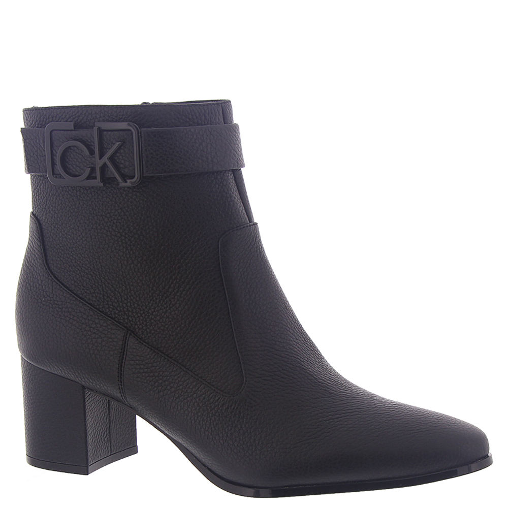 *This sophisticated ankle boot is sure to make an impression *Pebbled leather upper with decorative strap and logo hardware at ankle *Inside zip closure *Lightly cushioned footbed *2-1/4\\\