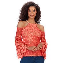 Cold Shoulder Lace Bell-Sleeved Top