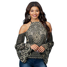 Cold Shoulder Lace Bell-Sleeved Top