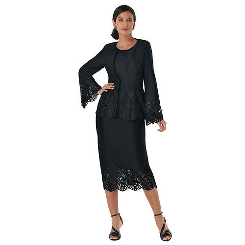 Three-Piece Lace Cutout Suit