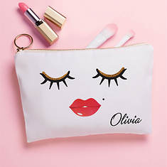 Personalized Lashes & Lips Zippered Pouch