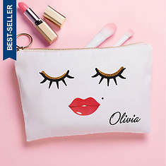 Personalized Lashes and Lips Zippered Pouch