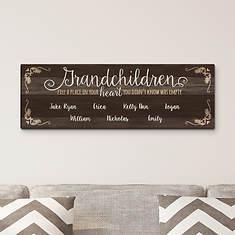"""Personalized Grandchildren 27""""x9"""" Canvas"""