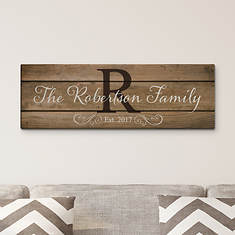 """Personalized Family Name and Initial 27""""x9"""" Canvas"""