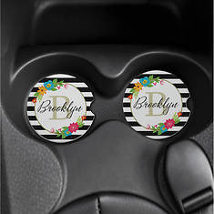 Personalized Floral Car Coasters - Set of 2