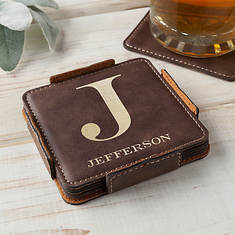 Personalized Faux Leather Coaster Set