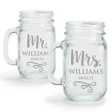 Personalized Mr. & Mrs. Mason Jar Glasses-Set of 2