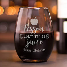 Personalized Lesson Plan Stemless Wine Glass
