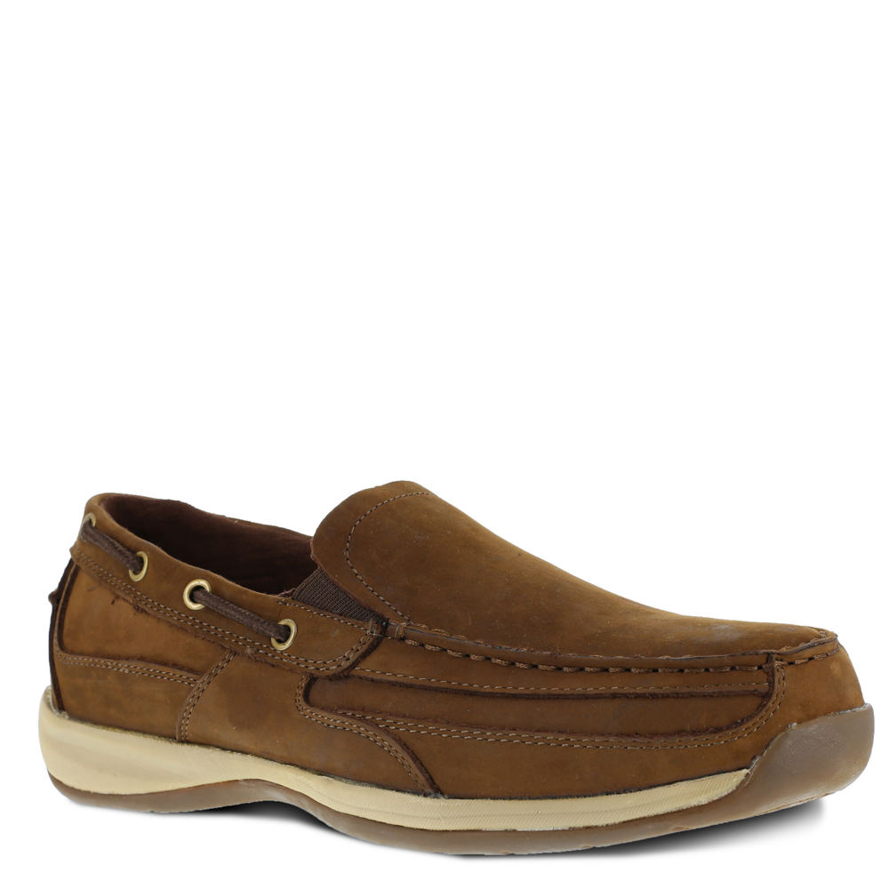 *The Sailing Club ST Boat Shoe from ROCKPORT WORKS is a dependable work slip-on *Leather upper *Brushed microfiber lining *Removable EVA cushion insert with heel stabilizer cup *Cushion EVA midsole *Rubber outsole *Safety steel toe *Slip-resistant *Electrical hazard and CSA electrical shock protection
