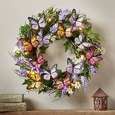 Lighted Butterfly Wreath