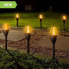 6PK Solar Flickering Flame Cup Pathway Lights