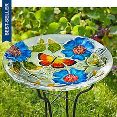 Glass Top Butterfly Birdbath with Iron Base