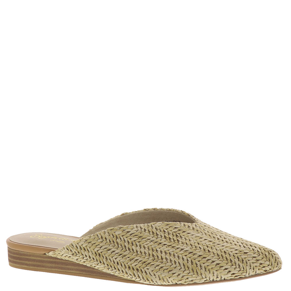 *Woven natural raffia upper *Closed almond toe *Open back *Choked-up topline *Slip-on style *Lightly cushioned footbed *1\\\