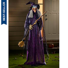 """72"""" Totating Witch With Broomstick"""