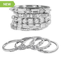 5-Piece Sterling Silver CZ Stackable Ring Set