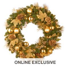 "24"" Elegance Wreath with LED Lights"