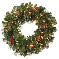 20'' Crestwood Wreath with Lights - Opened Item