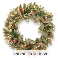 """24"""" Dunhill Fir Wreath with Lights"""