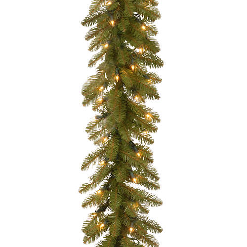 9' Dunhill Fir Garland with Lights