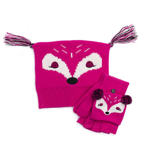 MUK LUKS Girls' Zoo Baby Hat and Flip Mitten Set