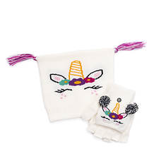 MUK LUKS Girls' Zoo Baby Hat and Flip Mitten Set