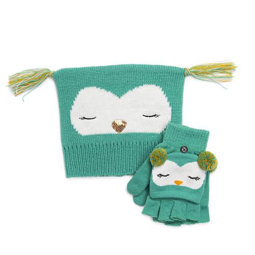 MUK LUKS Unisex Zoo Baby Hat and Flip Mitten Set