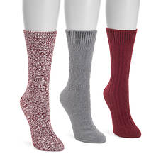 MUK LUKS Women's 3 Pair Pointelle Boot Socks