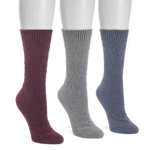MUK LUKS Women's 3 Pair Pointelle Boot Socks