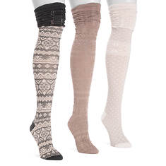 MUK LUKS Women's 3 Pair Micro Over-the-Knee Socks