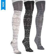 MUK LUKS Women's 3 Pair Micro Over-the-Knee Socks