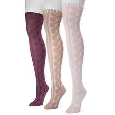 MUK LUKS Women's 3 Pair Knit Over the Knee Socks