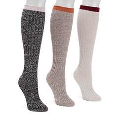 MUK LUKS Women's 3 Pair Fluffy Slouch Socks