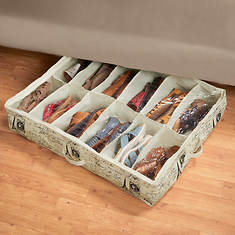 Home Basic Paris 12 Pair Under Bed Shoe Organizer