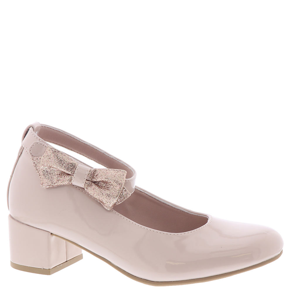 *Smooth synthetic upper with a charming bow *Hook-and-loop ankle strap *Lightly cushioned footbed *1-1/2\\\