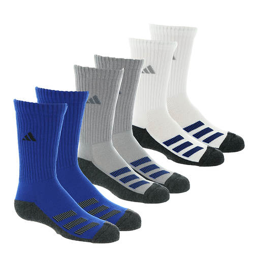 adidas Kids' Cushioned Angle Stripe 6-Pack Crew Socks
