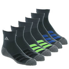 adidas Kids' Cushioned Angle Stripe 6-Pack Quarter Socks