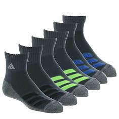 adidas Kids' Cushioned Angle Stripe 6-Pack Quarter Socks