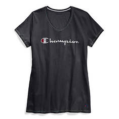 Champion® Women's Plus Jersey V-Neck Tee w/Graphic-Classic Script