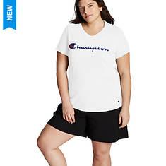 Champion® Women's Plus Jersey V-Neck Tee w/Graphic-Classic Script