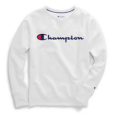 Champion® Women's Powerblend® Fleece Boyfriend Crew w/Script Logo