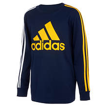 adidas Boys' LS BOS Stripe Tee