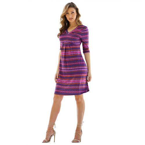 Elbow-Sleeved V-Neck Dress