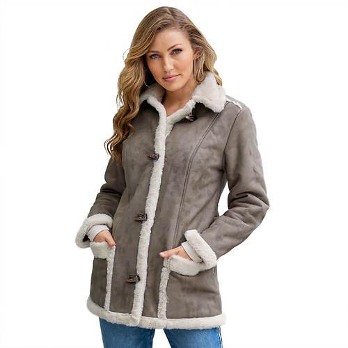 Contrast Faux Suede Jacket