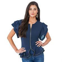 Zipper-Hem Ruffle Shirt