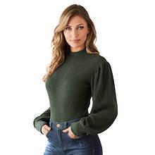 Puff-Shoulder Ribbed Bodysuit