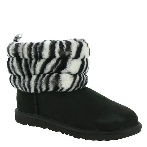 UGG® Fluff Mini Quilted Zebra (Girls' Toddler-Youth)